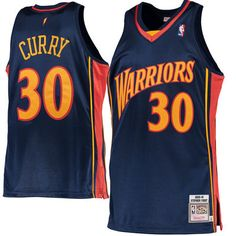 Men's Golden State Warriors Stephen Curry Mitchell & Ness Navy 2009-10 Hardwood Classics Rookie Authentic Jersey
