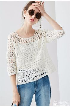 The weather& warming up. We have prepared a wonderful project. We continue with summer knitting models. Crochet blouse models have construction. Pull Crochet, Gilet Crochet, Mode Crochet, Crochet Cardigan, Crochet Lace, Crochet Stitches, Crochet Patterns, Blog Crochet, Black Crochet Dress