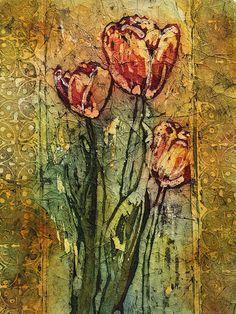 Linda Virio WATERCOLOR BATIK Red Tulips #1