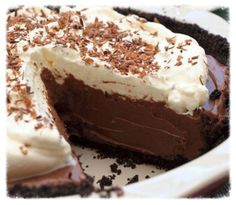 Chocolate Cream Pie..Go home and make this tonight, believe me it is worth it..Go to cookiescrumbsandchickens.blogspot.com for the recipe