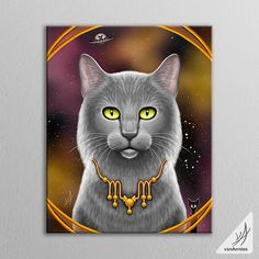 This canvas shows a Zodiac Cat celebrating the Sign of Scorpio. In the artwork you will find: The Scorpius Constellation of stars. - The Scorpion symbol embedded in a gold necklace. - November birthst
