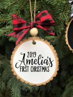 Personalized Baby's First Christmas Wood Slice Ornament, New Baby Gift, First Christmas Gift, Modern