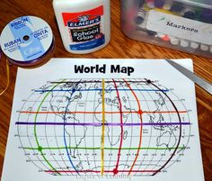 This lesson plan includes a printable world map with a map grid and shows you how to walk kids through a basic understanding of how map grids work. Use 1/8in ribbon to highlight lines of lat and long