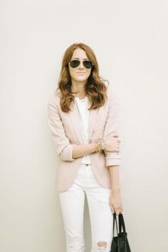 White tee and pink Blazer via Could I Have That? by forever dresses