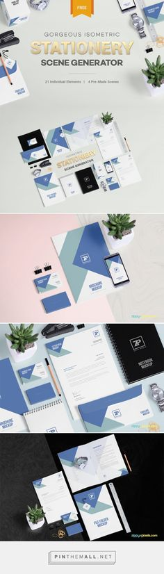 Free PSD Stationery Mockup Scene Generator on Behance - created via https://pinthemall.net