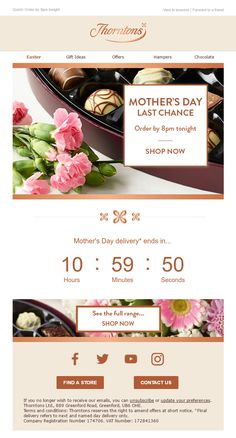 Mother's Day Last Chance  Email with Countdown Timer from Thorntons #EmailMarketing #Email #Marketing #MothersDay #Mothers #Day #CountdownTimer #Countdown #Timer #Chocolate #Sweets #Delivery #Last #Chance #Gifts