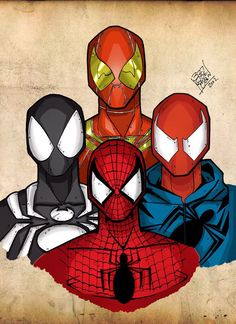 Spider-Man, Iron-Spider, Scarlet Spider, and Spider-Man symbiote. Iron Spider Costume, Iron Spider Suit, Marvel Fan, Marvel Heroes, Marvel Avengers, Black Spiderman, Spiderman Art, Halloween Spider Decorations, Scarlet Spider