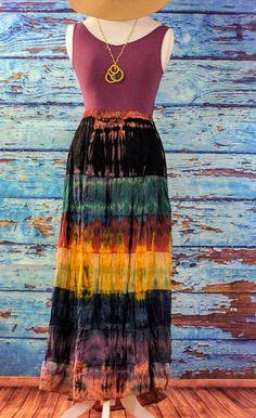 Tie Dye Layered Long Skirt - Yellow