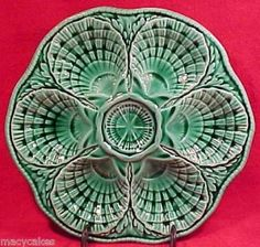 ANTIQUE FRENCH MAJOLICA SARREGUEMINES OYSTER PLATE