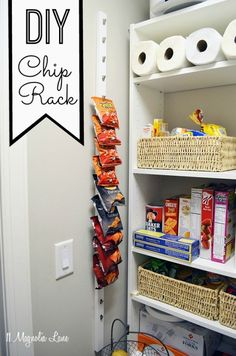 making at least one of these!!! DIY chip rack maximizes vertical wall space in a pantry | 11 Magnolia Lane