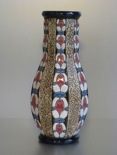 Superb Art Deco Czech Amphora Works Riessner Factory vase marked and numbered