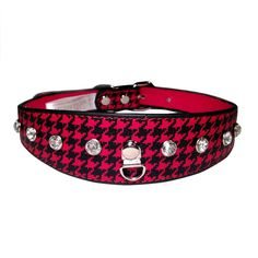 One Tail Four Paws Oval Shaped Houndstooth Collar, Large, Black and Red >>> Amazing product just a click away  : Cat Collar, Harness and Leash