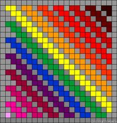 Rainbow diagonal stripe perler bead pattern