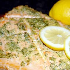 Made this tonight for dinner! Very good!!Cedar Plank-Grilled Salmon with Garlic, Lemon and Dill Allrecipes.com