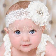 White Baby Headband Newborn Headband Christening by ThinkPink Bows - Cute! Lace Headbands, Diy Headband, Newborn Headbands, Baby Girl Headbands, Christening Headband, Baby Christening, Baby Girl Baptism, Baby Bling, Barrettes