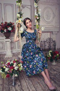 Pure Fashion by Katerina Dorokhova! Love floral and dresses! Modest Dresses, Modest Outfits, Modest Fashion, Dress Outfits, Casual Dresses, Fashion Dresses, Dress Up, Style Année 70, Style Retro