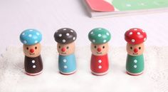 Items similar to Mushroom man Stamp Set - Rubber Stamp - Zakka - Blessing Stamp - 4 pcs in on Etsy Diary Decoration, Vintage Nursery, Wood Stamp, Diy Funny, Bee Happy, Tampons, Nursery Design, Badge Holders, Baby Decor