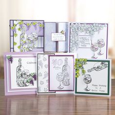 Honey Doo Crafts A Bottle of Vine Collection - A bottle of Vine and Just the One - 9 Elements Honey Doo Crafts, Crafts To Do, Paper Crafts, Craft Projects, Projects To Try, Create And Craft, Note Cards, Men's Cards, Bottle Crafts