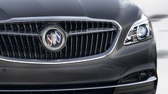 Photo showing the all-new winged grille and tri-colored insignia on the 2017 Buick LaCrosse full-size luxury sedan. Buick Avenir, 2017 Buick Lacrosse, Buick Gmc, Mercedes Benz Logo, Concept Cars, Pennsylvania, Luxury, Vehicles, Tin