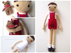 Arnold and Timo: A Crochet doll (and his bear) PDF Pattern by AnnaboosHouse on Etsy https://www.etsy.com/listing/222983019/arnold-and-timo-a-crochet-doll-and-his