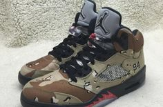 "A Detailed Look At The Supreme x Air Jordan 5 ""Desert Camo"" - http://kickson.fr/1OCG26r"