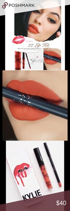 22Kylie Lip KitBNIB NO TRADESPRICE IS FIRM  22 is a vibrant, burnt orange.  Contains: 1Matte Liquid Lipstick (0.11 fl oz./oz liq / 3.25 ml) 1Pencil Lip Liner (net wt./ poids net .03 oz/ 1.0g)  The ultra-long wearing lip liner has a creamy texture that glides across the lips  for a very easy and comfortable application.   The extremely long wearing Liquid Matte Lipstick has high intensity pigment for an instant bold matte lip.  Check out my closet for more Kylie cosmetics! Kylie Cosmetics…