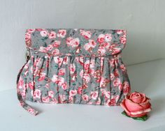 Hey, I found this really awesome Etsy listing at http://www.etsy.com/listing/151597287/pink-and-grey-clutch-pink-roses-pleated