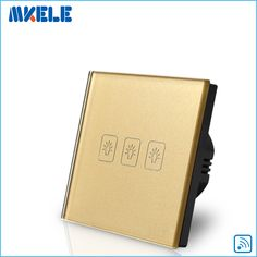 Remote Switch Wall Light 3 Gang 1 Way Control Touch EU Standard Gold Crystal Glass Panel LED