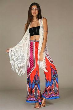 "#salediem #fashion #summer  #dress    #Bohemian #boho FLYING TOMATO""  PIECE PRINT PALAZZO PANTS"