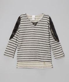Black Stripe Lace Hi-Low Top by Forever Princess #girls #kids #fashion $16.99