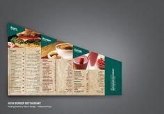 Restaurant Folding Delivery Menu by Ahmad Kattan, via Behance Burger Restaurant, Menu Restaurant Design, Menu Card Design, Food Menu Design, Delivery Menu, Dubai Food, Pub, Cocktails, Free Business Cards