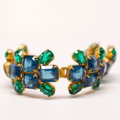 "Unsigned Blue and Green Gemstone Bracelet   6.5"" length.  #mdvii #blue #bracelet #green"