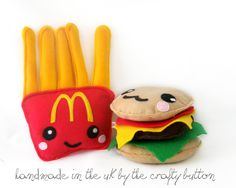 kawaii plushies | Burger and fries kawaii plushies by TheCraftyButtonUK on Etsy