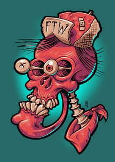 Skullhead on behance drawin' tips, 2019 skull art, cartoon art ve illu Art Sketches, Art Drawings, Zombie Drawings, Funny Drawings, Posca Art, Graffiti Characters, Yakuza Tattoo, Bodysuit Tattoos, Character Design