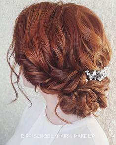 прическа на выпуск, текстурный пучок, прическа на рыжие волосы, выпускная прическа, свадебная прическа