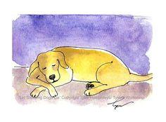 Dog Card, Yellow Labrador Dog Card, Dog Art, Sleeping Dog Watercolor Painting Illustration Print 'Let Sleeping Dogs Lie' 4x6