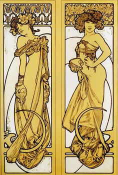Two Standing Women, Alphonse Mucha, 1900