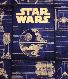 Star Wars Blue Print Fabric 3 Yards ~ Adoption Fundraiser