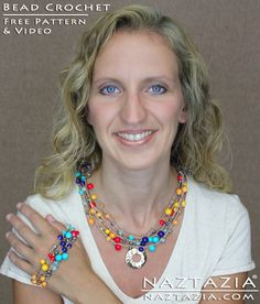 DIY Free Pattern and YouTube Video Tutorial Easy Crochet With Beads Necklace and Bracelet Jewelry by Donna Wolfe from Naztazia