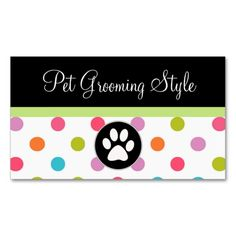 Pet Care Business Cards. This is a fully customizable business card and available on several paper types for your needs. You can upload your own image or use the image as is. Just click this template to get started!