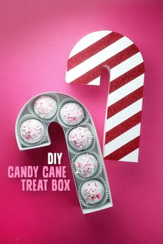 Bookmark this easy step-by-step DIY for a festive holiday candy cane treat box full of delicious chocolate peppermint cake balls. #partner