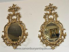 Photo of Pair French Rococo Girandole Mirrors Mirrored Candelabras Louis XVI