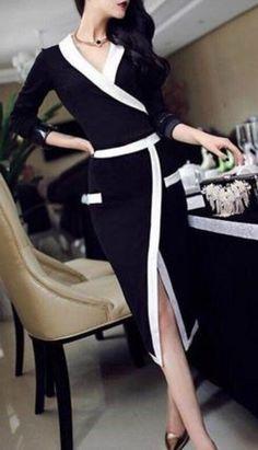 Awesome Work Dress! Black and White Women's Stylish V-Neck Long Sleeve Bodycon Work Dress #Executive #Black #White #Work #Dress #Fashion