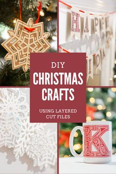 Discover ten fun and easy DIY Christmas craft you can make for the holidays using layered cut files. These Christmas crafts can be made using a Cricut, Silhouette or other cutting machines. Learn how to add custom touches to your holiday decor and create unique gift ideas for the holidays. #christmascrafts #diygifts #layeredsvgcutfiles Diy Christmas Decorations For Home, Christmas Craft Projects, Christmas Ornaments To Make, Christmas Svg, Holiday Crafts, Holiday Decor, Diy Crafts For Gifts, Homemade Crafts, Easy Diy Crafts