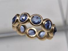 Rose Cut Blue Sapphire Band Large blue sapphire ring at etsy.com/shop/Onestonenewyork