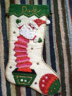 Vintage Christmas Stocking Bucilla felt sequins BLING jeweled Z Vintage Christmas Stockings, Vintage Stockings, Xmas Stockings, Retro Christmas, Vintage Holiday, Christmas Holidays, Christmas 2017, Felt Crafts, Holiday Crafts