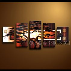 Enchant Contemporary Wall Art Hand-Painted Art Paintings For Living Room Landscape. This 5 panels canvas wall art is hand painted by Anmi.Z, instock - $145. To see more, visit OilPaintingShops.com