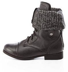 Charlotte Russe Sweater-Lined Lined Fold-Over Combat Boots on shopstyle.com