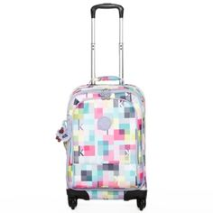 "Yubin 55 Spinner Luggage in K Squared #Kipling 13.75"" L x 21.5"" H x 10.5"" D  my daughter is loving this print for her luggage when we travel-it will be easy to find in the airport baggage area too! #KiplingSweeps"