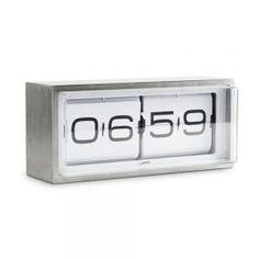 Discover the LEFF amsterdam Brick Wall/Desk Clock - White at Amara Wall Desk, Desk Clock, Bedside Clock, Wall Clocks, Flip Alarm Clock, Retro Vintage, Vintage Style, Vintage Clocks, Vintage Modern